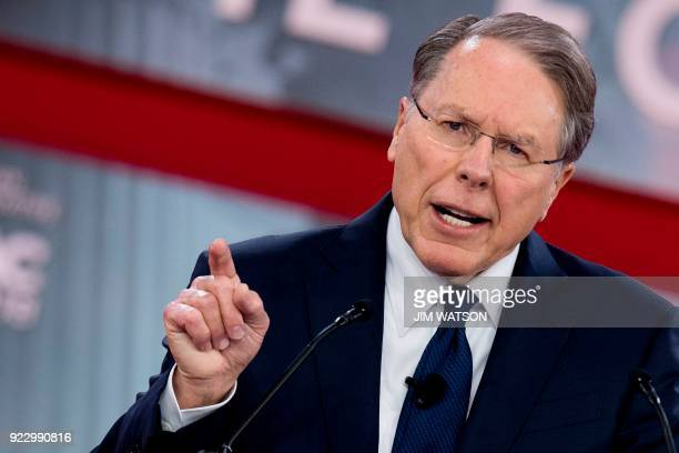 The National Rifle Association's Executive Vice President and CEO Wayne LaPierre speaks during the 2018 Conservative Political Action Conference at...