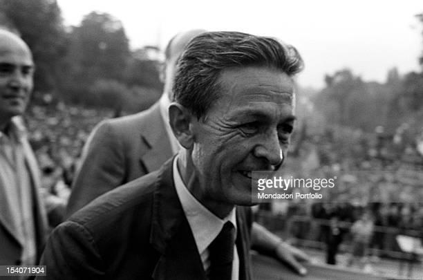 The national secretary of the Italian Communist Party Enrico Berlinguer attending Festa dell'Unita in Parco Sempione Milan September 1979