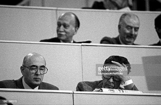 The national secretary of the Italian Communist Party Enrico Berlinguer seated beside Giorgio Napolitano leader of the meliorist wing within the...