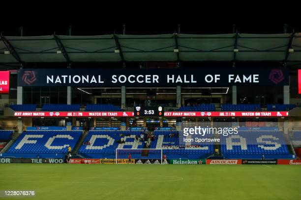 The National Soccer Hall of Fame is located at Toyota Stadium and is empty during the game between the FC Dallas and the Nashville SC on August 16,...