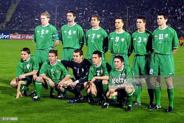 The national soccer team from the Republic of Ireland poses before the start of their 2002 FIFA Korea/Japan World Cup second leg playoff match...