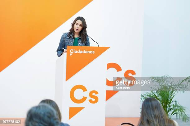 The national spokesperson for Citizens Ines Arrimadas during the press conference of the meeting of the Executive Committee held today at the party...