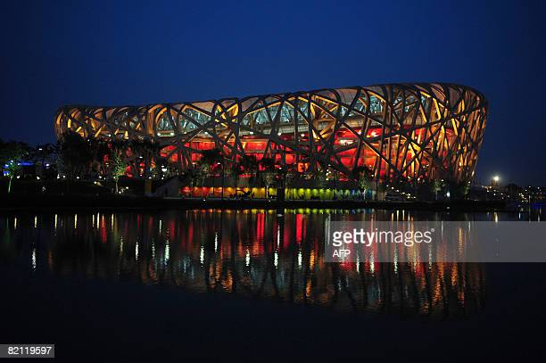 The National Stadium also known as the Bird's Nest lit up at night during rehearsals for the opening ceremony of the 2008 Olympic Games on July 30...