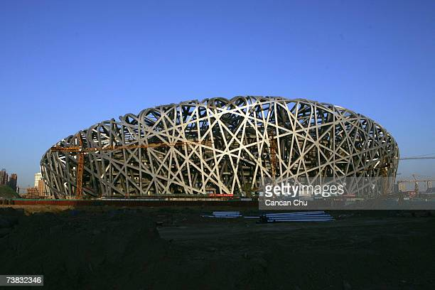 The National Stadium continues to be constructed April 6 2007 in Beijing China The National Stadium hosts the opening closing ceremonies athletics...