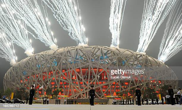 The National Stadium in Beijing China erupts with fireworks near the end of the opening ceremonies for the 2008 Summer Olympics August 8th 2008