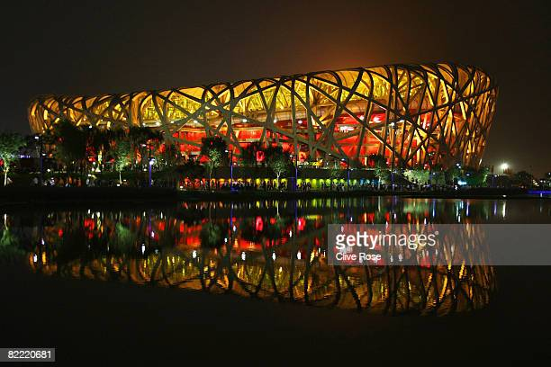The National Stadium is illuminated during the Opening Ceremony for the Beijing 2008 Olympic Games on August 8 2008 in Beijing China