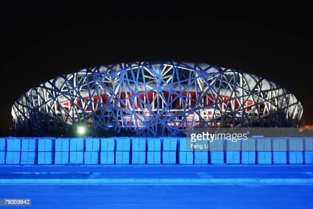 The National Stadium is lit at night January 29, 2008 in Beijing, China. As the last venue to be completed in time to host the 2008 Beijing Olympic...