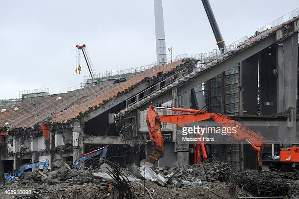 The National Stadium is under demolition on April 8 2015 in Tokyo Japan The new National Stadium designed by British architect Zaha Hadid will be...
