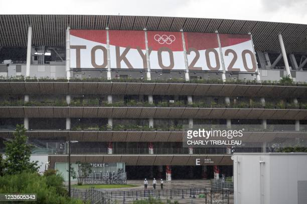 The National Stadium, main venue for the Tokyo 2020 Olympic and Paralympic Games, is pictured in Tokyo on June 23, 2021.