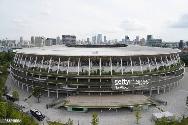 The National Stadium, the main venue for the Tokyo 2020 Olympic and Paralympic Games, is seen on the day marking 50 days to go for the Tokyo Olympic...