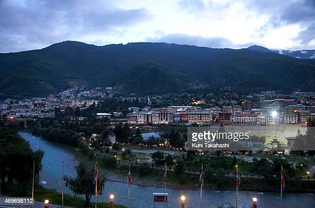 The National Stadium which has been refurbished in 2007 is illuminated in downtown Thimphu Bhutan on August 31 2013 Only few old structures remain as...