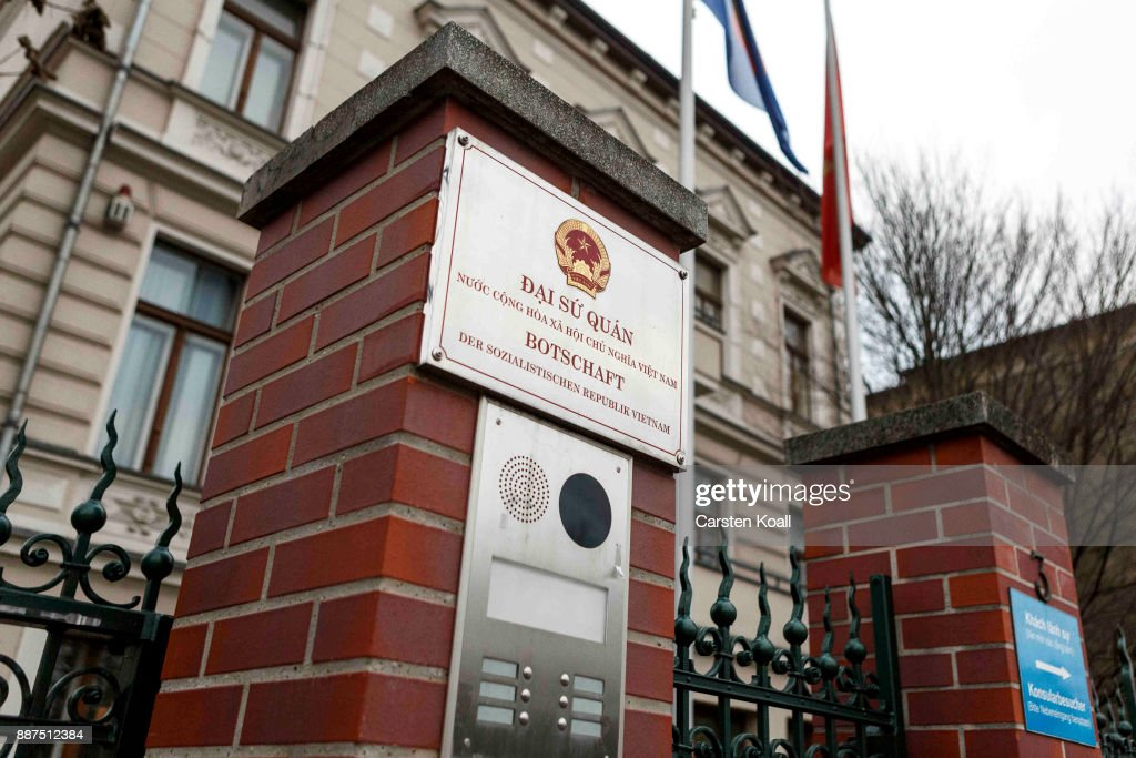 The National Symbol is at the entrance of the Vietnamese Embassy stands on December 7, 2017 in Berlin, Germany. According to German newspaper Sueddeutsche Zeitung evidence suggests the Vietnamese Embassy had a direct role in the July 23 kidnapping of Vietnamese politician Trinh Xuan Thanh. Trinh, who had sought asylum Berlin after fleeing charges in Vietnam, was kidnapped in broad daylight on the street in Berlin. According to Sueddeutsche Zeitung the van used in the kidnapping drove directly to the Vietnamese Embassy and embassy employees took part in the getting him out of the country. Trinh appeared several days later in custody in Vietnam.
