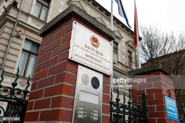 The National Symbol is at the entrance of the Vietnamese Embassy stands on December 7 2017 in Berlin Germany According to German newspaper...