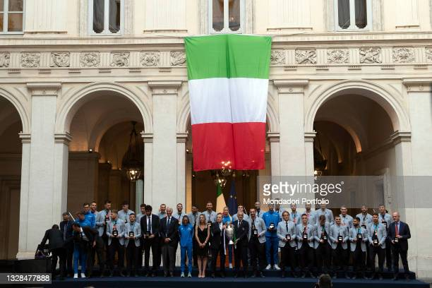 The National team in a Photo family during the official visit of the football Italy National team, after winning the UEFA Euro 2020 Championship....