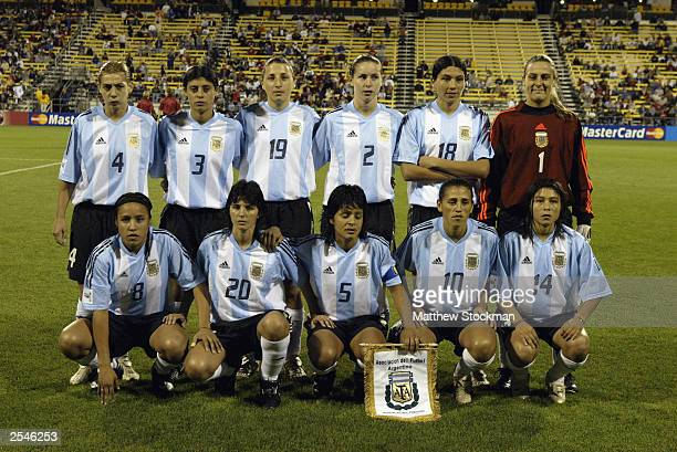 The national team of Argentina pose for a picture before the FIFA Women's World Cup game against Japan at Crew Stadium on September 20 2003 in...
