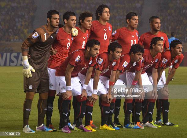 The national team of Egyptposes for a group picture prior to a match against Brazil as part of the FIFA U20 World Cup at Roberto Meléndez stadium on...