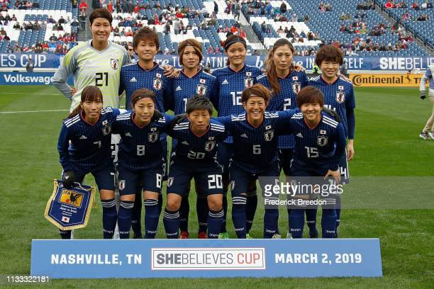 The national team of Japan poses for a photo prior to the 2019 SheBelieves Cup match between Brazil and Japan at Nissan Stadium on March 2 2019 in...