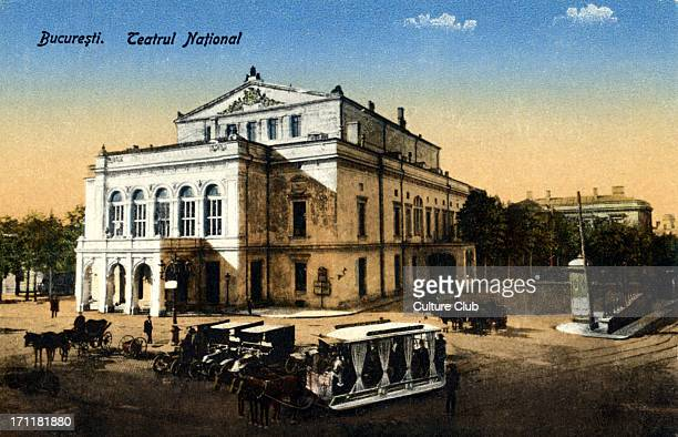 The National Theatre in Bucharest at the turn of the century Under Hungarian administration now under Romania Street scene colourised Hungarian...