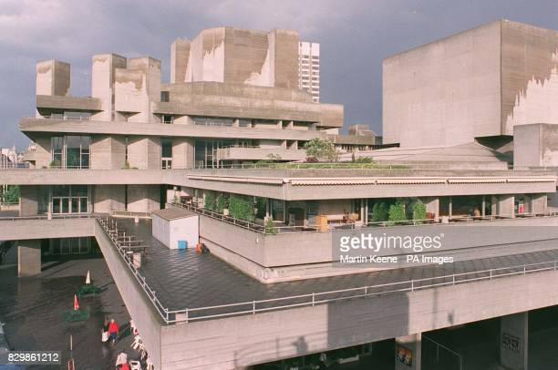 The National Theatre on the South Bank of the Thames one of 57 examples of postwar architecture and art recommended for protected status by English...