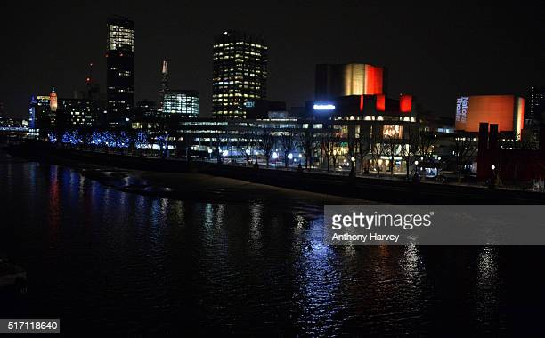 The National Threate one of many London landmarks which have been lit up in support of Belgium following the terrorist attacks in Brussels yesterday...