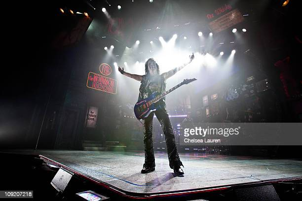 The national tour of Rock of Ages at the curtain call of Opening Night of Rock of Ages at the Pantages Theatre on February 15 2011 in Hollywood...