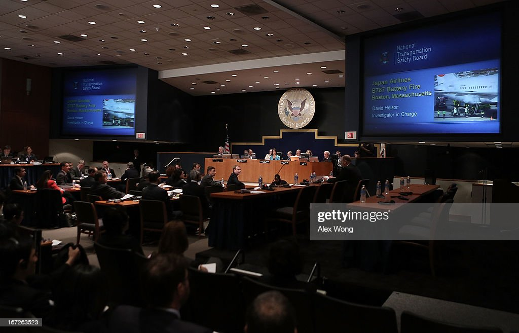 The National Transportation Safety Board holds an investigative hearing into the Boeing 787 battery fire April 23, 2013 in Washington, DC. The NTSB held a two-day hearing to investigate the design, testing, certification and operation of the lithium-ion battery on the Boeing 787 and the battery fire incident.