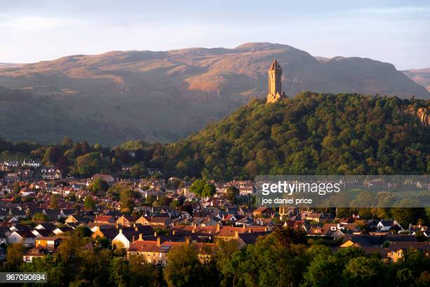 the national wallace monument, stirling, scotland - stirling stock pictures, royalty-free photos & images