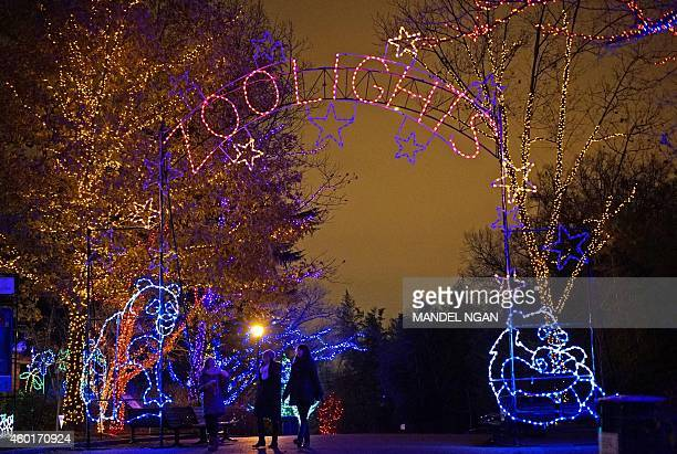 The National Zoo is decorated for the Christmas Season on December 8 2014 in Washington DC 'ZooLights' when the zoo is illuminated by over 500000 LED...