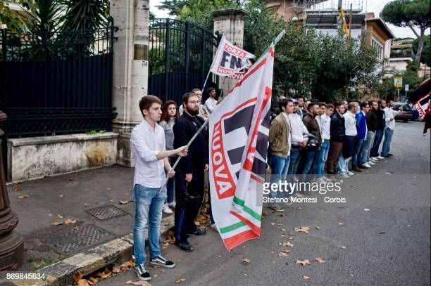 The nationalists of Forza Nuova Italian farright party demonstrated in front of the Embassy of Greece in Rome in solidarity with the neoNazi party...