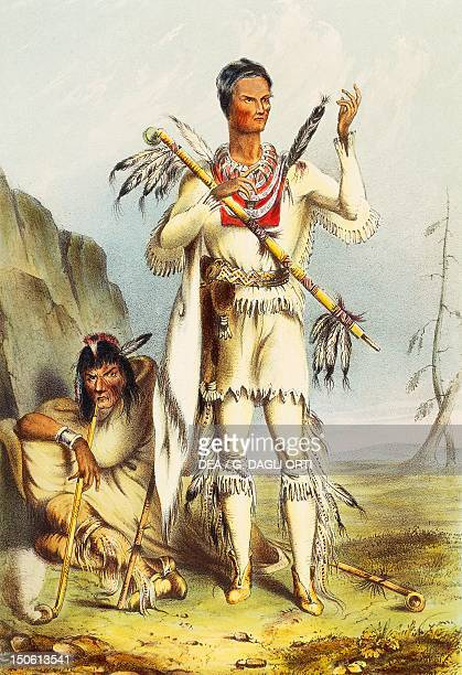The Native American Winnbago known as Redbird coloured engraving Native American Civilization United States 19th century