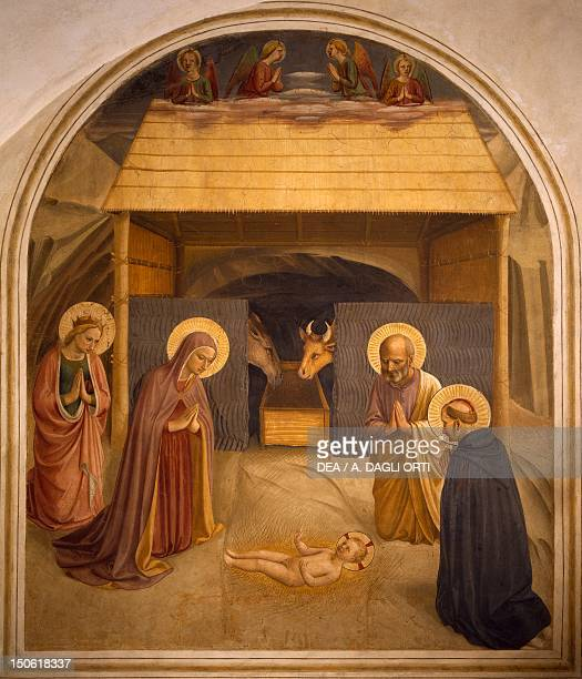 The Nativity 14381455 by Giovanni da Fiesole known as Fra Angelico fresco Cell of Convent of St Mark's Florence
