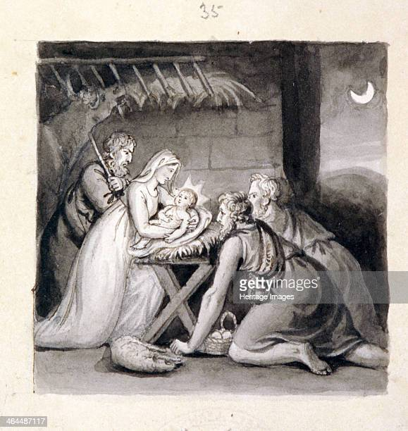 'The Nativity' 19th century showing shepherd before the Christ Child craddled in Mary's arms Joseph looks on behind