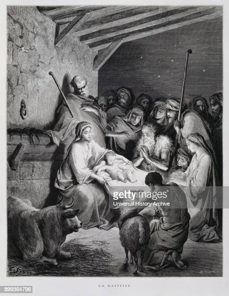 The nativity Birth of Christ in the manger Illustration from the Dore Bible 1866 In 1866 the French artist and illustrator Gustave Doré published a...