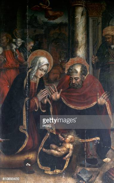 The Nativity Detail of the main alterpiece of the church of St Martin de Tours by Pedro Nu_es Capella
