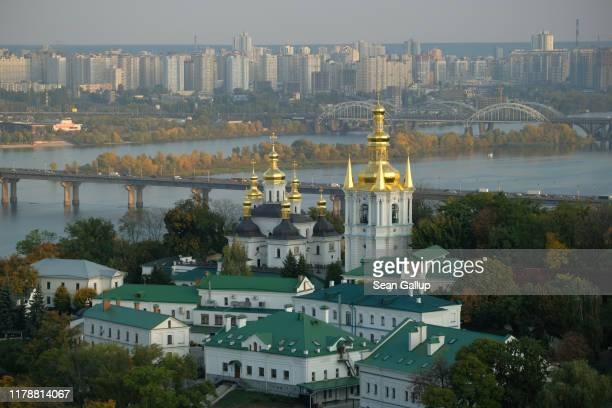 The Nativity of Our Lady Church, part of the Kiev Pechersk Lavra Orthodox Christian monastery, stands next to the Dniepr River on October 03, 2019 in...