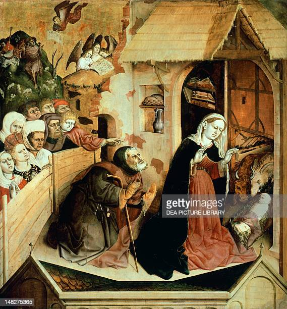 The Nativity scene from Life of the Virgin Wurzach Altarpiece by Hans Multscher panel 148x140 cm Berlin BauhausArchiv Museum Für Gestaltung