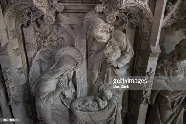 The nativity scene part of the intricate stone surface of the Great Screen that is being cleaned for the first time in over 100 years as past of a...