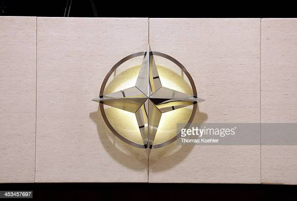 The NATO Logo at room 16 during a meeting of NATO Foreign Ministers with nonNATO ISAF troop contributors on December 04 2013 at NATO headquarters in...