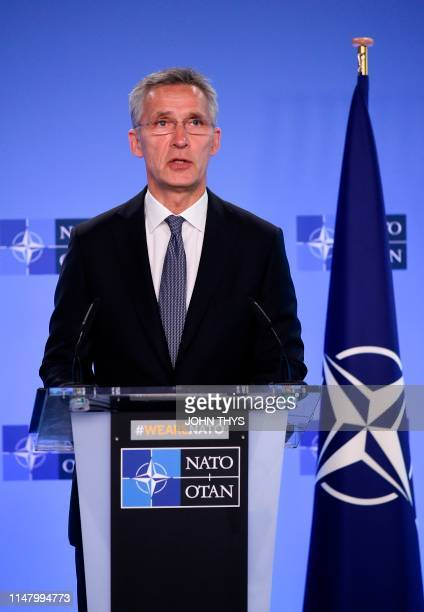 The NATO Secretary General Jens Stoltenberg gives a press conference during a press conference with President of Ukraine at the Nato headquarters in...