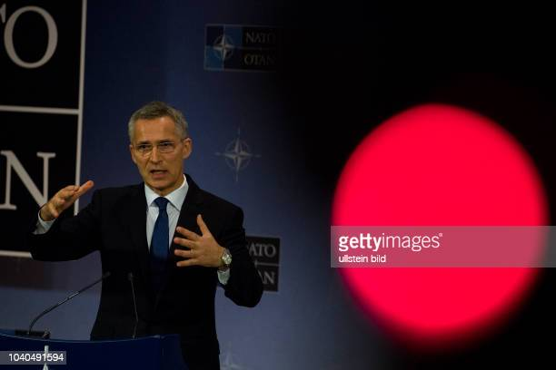 The Nato Secretary General Jens Stoltenberg is giving a press conference on 24 May 2017 ahead of the Meeting of Nato Heads of State and Government on...