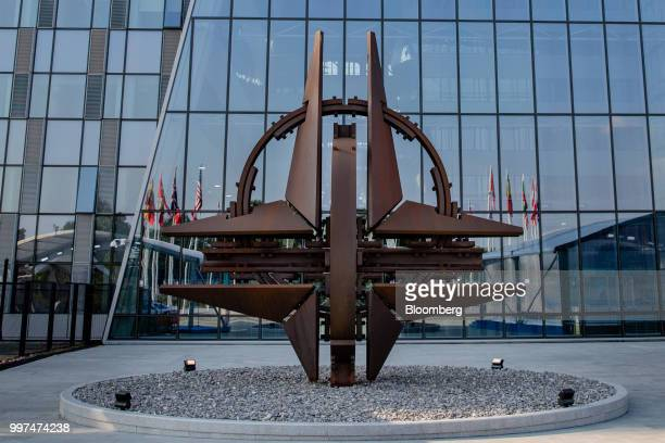 The NATO Star sculpture stands during the North Atlantic Treaty Organization summit in Brussels Belgium on Thursday July 12 2018 In an unexpected...