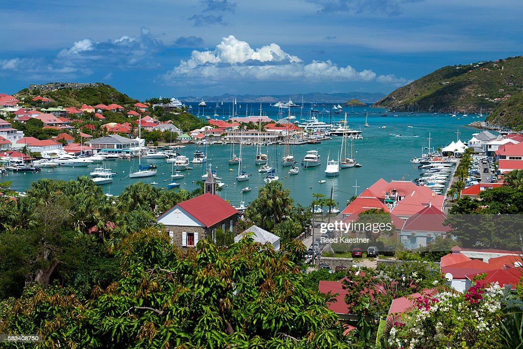 The natural harbor of Gustavia in  Saint-Barthélemy, french west indies. : Stock Photo