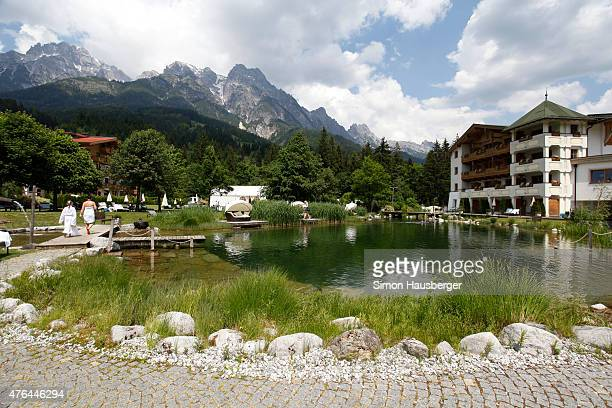 The Naturhotel Forstguthof the home of the U21 German National team during their stay and the Leoganger Steinberge on June 9 2015 in Leogang Austria