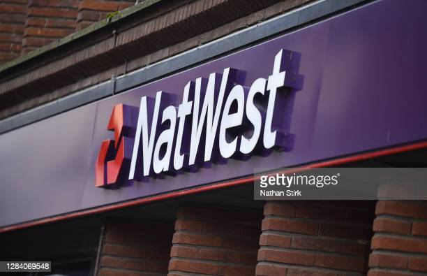 The Natwest Bank logo is seen on November 05, 2020 in Stoke-on-Trent, Staffordshire, England.