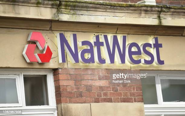 The NatWest Bank logo is seen on October 30, 2020 in Newcastle-under-Lyme, England. HSBC Chief Executive Noel Quinn said the bank will review pricing...