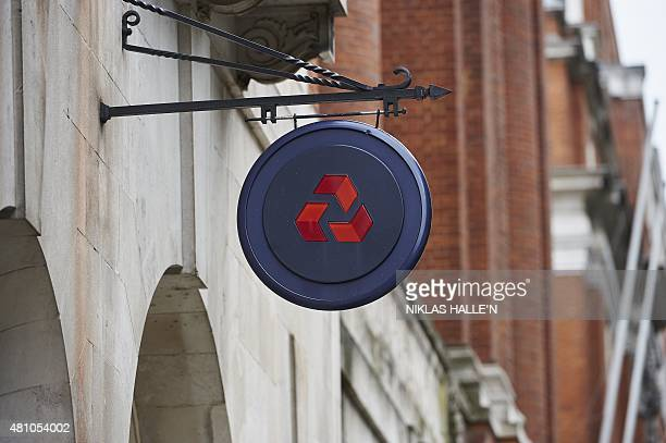 The NatWest logo hangs from the facade of a NatWest bank branch in central London on July 17, 2015. AFP PHOTO / NIKLAS HALLE'N