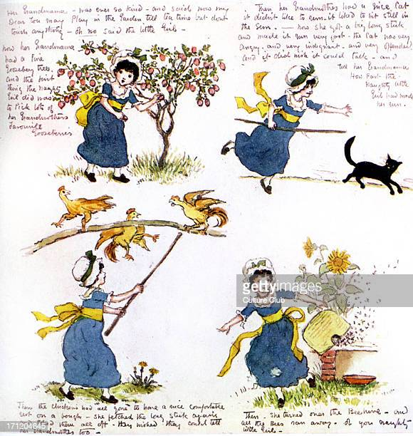 'The naughty little girl who went to see her grandmama' by Kate Greenaway Fourpage story written for Violet Severn A Victorian child visits her...