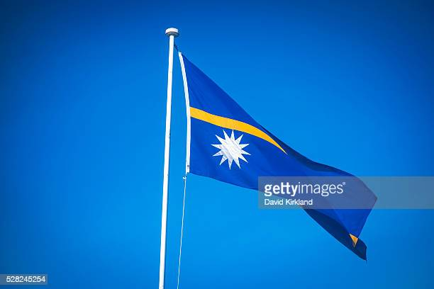 The Nauru flag; Nauru