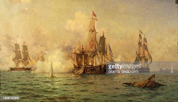 The naval battle July 30 painting by Edward De Martino Argentina 19th century