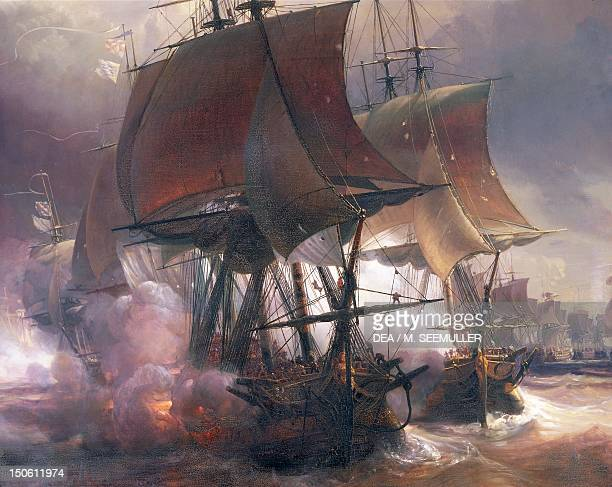 The Naval Battle of Ouessant between French and British fleets July 27 by Theodore Gudin Detail American War of Independence France 18th century